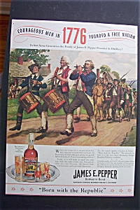 1940 James E. Pepper Whiskey With Bicentennial Scene