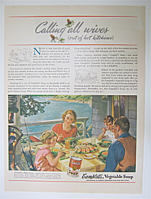 1937 Campbell's Vegetable Soup With Family Eating