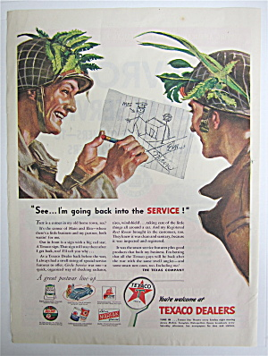 1945 Texaco Dealers With Two Soldiers Talking