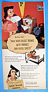 Vintage Ad: 1947 Dan River Sheets with Buttons (Image1)