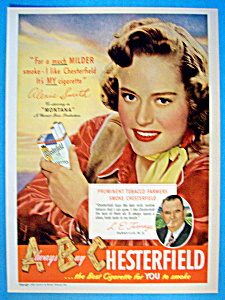Vintage Ad: 1949 Chesterfield Cigarettes W/alexis Smith