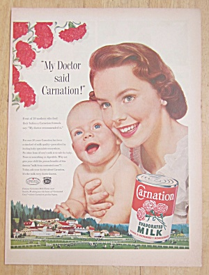 1954 Carnation Milk With Baby & Woman Smiling