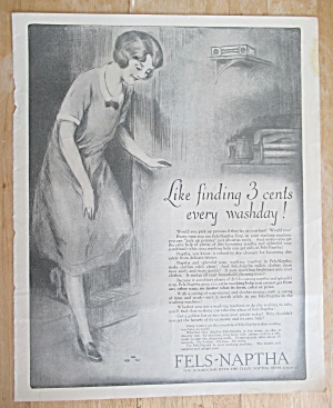 1926 Fels Naphtha Soap With Woman Finding 3 Cents