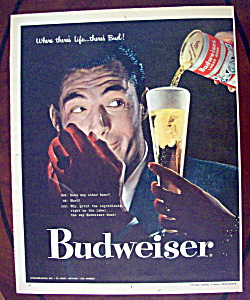 1957 Budweiser Beer With Man Lighting A Cigarette