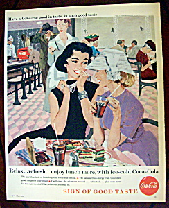 1958 Coca Cola (Coke) With Two Women Talking At Table