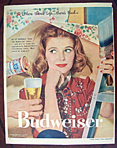 1958 Budweiser Beer With Woman & Wallpaper
