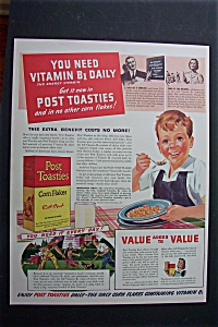 1940 Post Toasties Corn Flakes with Little Boy Eating  (Image1)