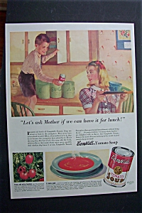 1940 Campbell's Tomato Soup with Little Boy & Girl  (Image1)