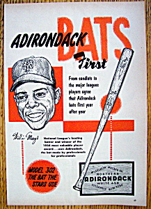 Vintage Ad 1955 Adirondack Baseball Bat W Willie Mays
