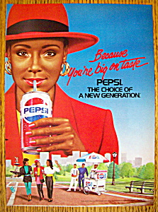 1988 Pepsi Cola With A Woman Drinking A Can Of Pepsi