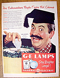 Vintage Ad:1947 General Electric Lamps w/ Jerry Colonna (Image1)