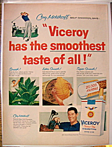 Vintage Ad: 1957 Viceroy Cigarette w/ Cary Middlecoff (Image1)