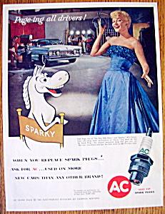 Vintage Ad: 1958 AC Spark Plugs w/Patti Page & Sparky (Image1)
