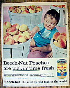 1958 Beech-Nut Strained Peaches with Baby & Peaches (Image1)