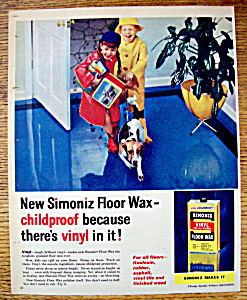 1958 Simoniz Vinyl Floor Wax With Kids & Muddy Boots