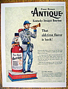 1959 Four Roses Antique Whiskey With Civil War Bugler