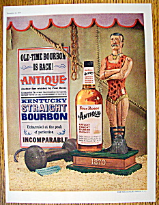 1959 Four Roses Antique Whiskey With Weightlifting Man
