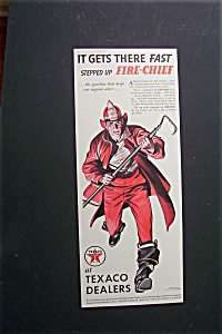 1940 Texaco Dealers With Fireman Running With Hook