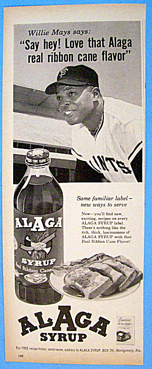 1963 Alaga Syrup with Baseball's Willie Mays (Image1)