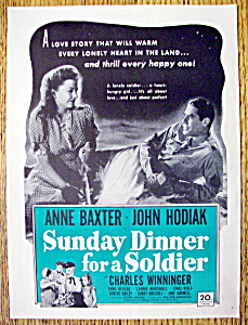 Vintage Ad: 1945 Sunday Dinner For A Soldier