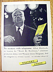 Vintage Ad: 1959 Western Union w/ Alfred Hitchcock (Image1)