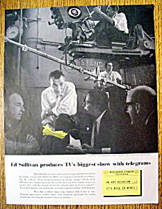 Vintage Ad: 1957 Western Union Telegram w/ Ed Sullivan (Image1)
