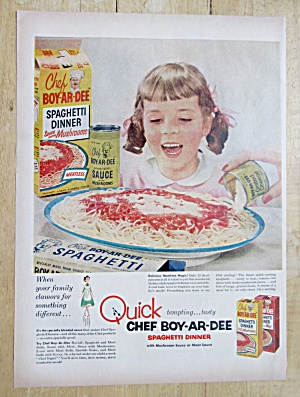1954 Chef Boy-Ar-Dee Spaghetti Dinner with Little Girl  (Image1)