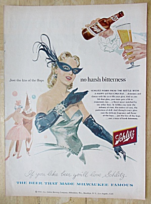1954 Schlitz Beer with Woman At Masquerade Party (Image1)