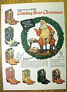 Vintage Ad: 1956 Acme Cowboy Boots with Santa Claus (Image1)