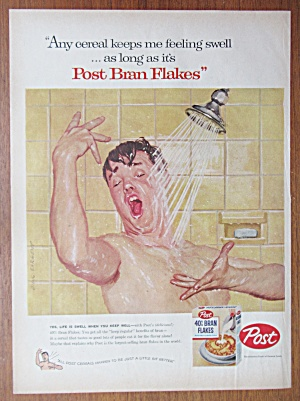 Vintage Ad: 1957 Post 40% Bran Flakes By Dick Sargent