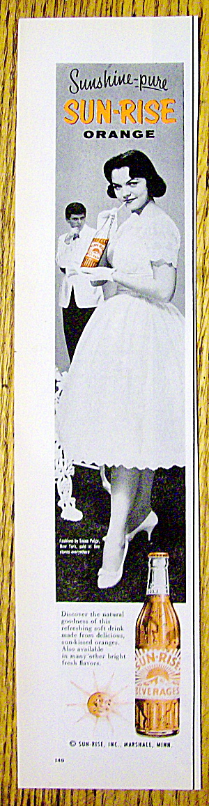 1959 Sun Rise Orange Beverage With Girl In Party Dress
