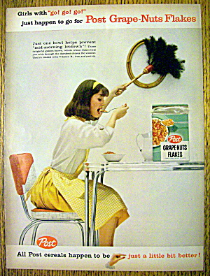 1959 Post Grapes-nuts Flakes With Woman Eating