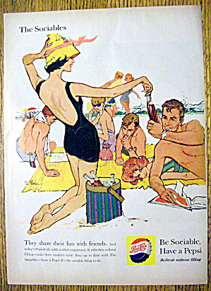 1959 Pepsi-Cola (Pepsi) w/Woman & Man Enjoying Beach (Image1)