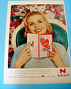 1959 Norcross Valentine's Day Cards with Woman & Card (Image1)
