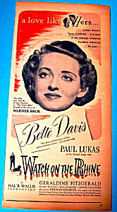 Vintage Ad: 1943 Watch On The Rhine With Bette Davis