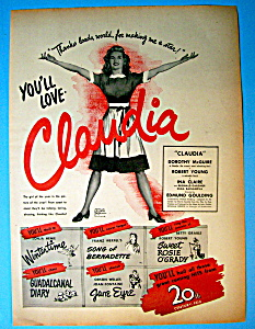 Vintage Ad: 1943 Claudia With Dorothy Mcguire
