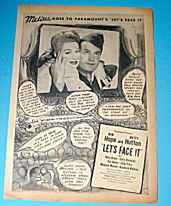 Vintage Ad: 1943 Lets Face It With Bob Hope