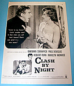 Vintage Ad: 1952 Clash By Night With Marilyn Monroe