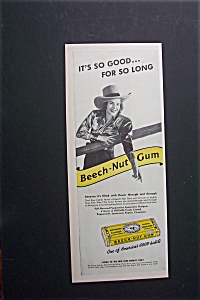 1940 Beech Nut Gum With Woman Dressed As Cowboy
