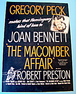 Vintage Ad: 1947 The Macomber Affair W/ Gregory Peck