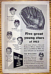 Vintage Ad 1954 Wilson Baseball Glove W Ted Williams