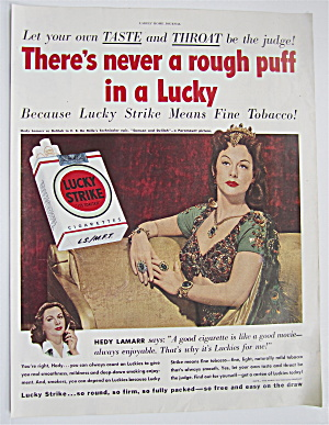 1950 Lucky Strike Cigarettes With Hedy Lamarr