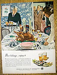 1950 Beer Belongs By Douglas Crockwell w/Thanksgiving  (Image1)
