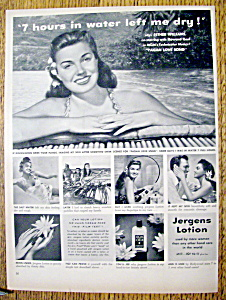 Vintage Ad: 1950 Jergens Lotion With Esther Williams