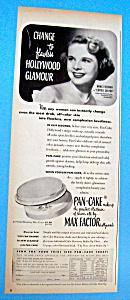 Vintage Ad:1950 Max Factor Pancake Make Up W/m. Freeman