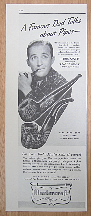1946 Mastercraft Pipes with Star & Singer Bing Crosby  (Image1)