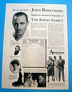 Vintage Ad: 1933 The American Magazine W/john Barrymore