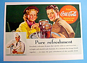 1938 Coca Cola (Coke) With Couple At Restaurant