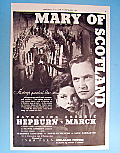 Vintage Ad: 1936 Mary Of Scotland W/ Katharine Hepburn