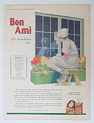1924 Bon Ami w/ Woman Sitting on Stool Cleaning Window (Image1)
